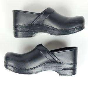 Dansko Black Leather Professional Clogs